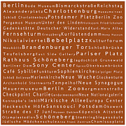 Berlin Germany Framed Prints - Berlin in Words Toffee Framed Print by Sabine Jacobs