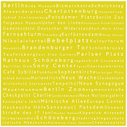 Berlin Germany Framed Prints - Berlin in Words Yellow Framed Print by Sabine Jacobs