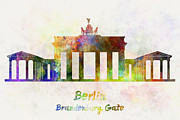 Berlin Landmark Brandenburg Gate In Watercolor Print by Pablo Romero