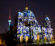 Berlin Light Show Print by Iryna Soltyska