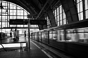 Berlin Germany Framed Prints - Berlin S-Bahn train speeds past platform at Alexanderplatz main train station Germany Framed Print by Joe Fox