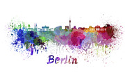 Berlin Skyline In Watercolor Print by Pablo Romero
