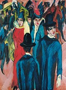 Hats Framed Prints - Berlin Street Scene Framed Print by Ernst Ludwig Kirchner