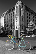 Berlin Digital Art Acrylic Prints - Berlin Street View With Bianchi Bike Acrylic Print by Ben and Raisa Gertsberg
