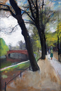 Berlin Germany Painting Posters - Berlin Tiergarten Walk Poster by Stefan Kuhn
