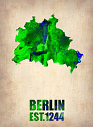 Berlin Framed Prints - Berlin Watercolor Map Framed Print by Irina  March