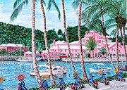 Baskets Drawings Framed Prints - Bermuda Pink Hotel Framed Print by Val Miller