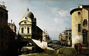 Gold Foil Paintings - Bernardo Bellotto Venezianisches Capriccio mit Ansicht von Santa Maria dei Miracoli by MotionAge Art and Design - Ahmet Asar