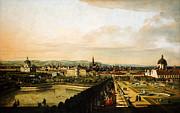 Gold Foil Prints Framed Prints - Bernardo Bellotto Wien vom Belvedere aus gesehen 1758 1761 Framed Print by MotionAge Art and Design - Ahmet Asar