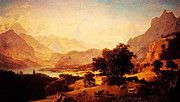 Gold Foil Paintings - Bernese Alps As Seen Near Kusmach 1859 by MotionAge Art and Design - Ahmet Asar