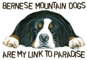 Berner Framed Prints - Bernese Mountain Dog Paradise Framed Print by Liane Weyers