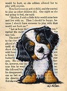 Prairie Dog Mixed Media Originals - Bernese Mountain Dog Puppy by Kim Niles