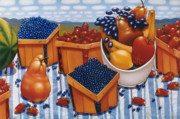 Strawberries Paintings - BERRIES AND FRUIT 1997  Skewed perspective series 1991 - 2000 by Larry Preston