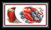 Strawberry Sundae Art - Berries and Yogurt Illustration - Food - Kitchen by Barbara Griffin