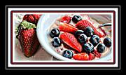 Berries And Yogurt Intense - Food - Kitchen Print by Barbara Griffin
