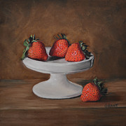 Four Strawberries Prints - Berries Print by Joanne Grant