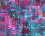 Drips Paintings - Berry Pink Purple and Blue Abstract by Lee Ann Asch