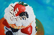 Photo Real Paintings - Berry Tall Cake by Guenevere Schwien