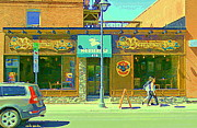 Streetscenes Paintings - Berryman Pub The Glebe Sport Bar Burger Joint Old Ottawa Pub Scene Storefront Cafe Painting Cspandau by Carole Spandau
