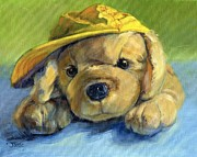 Children Print Painting Originals - Bert and His Yellow Hat by Joose Hadley