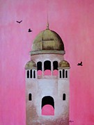 Stucco Mixed Media Posters - Berwick Steeple Poster by Elaan Yefchak