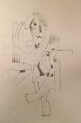 Ink Drawings - Beside My Self by Larry Preston