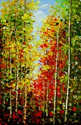 Signed Photos - Best Art Choice AWARD Original Abstract Oil Painting Modern Landscape Forest Trees Gallery by Emma Lambert