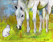 Horse Original Paintings - Best Friends Art by Blenda Studio