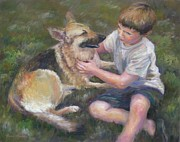 Shepard Boy Prints - Best Friends Print by Bonnie Goedecke