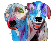 Dog Artists Drawings - Best Friends by Brian Buckley
