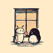 Windows Digital Art Metal Prints - Best friends Metal Print by Budi Satria Kwan