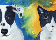 Dog And Cat Posters - Best Friends Poster by Marie Stone Van Vuuren