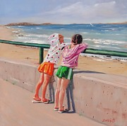 Massachusetts Coast Paintings - Best Friends Two by Laura Lee Zanghetti
