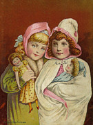 Turn Of The Century Digital Art - Best Friends with Their Dollys  by Pierpont Bay Archives