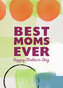 Best Moms Card- Two Moms Greeting Card Print by Linda Woods