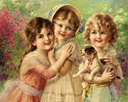 Little Girls Digital Art - Best Of Friends by Emile Vernon
