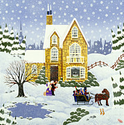 New England Snow Scene Painting Framed Prints - Best Part of the Weekend Framed Print by Merry  Kohn Buvia