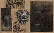 Grotesque Drawings - Bestiary Flower by Don Michael