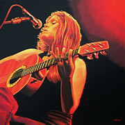 Songwriter  Painting Framed Prints - Beth Hart  Framed Print by Paul  Meijering