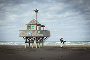 Lookout Prints - Bethells Beach New Zealand Lifeguard Tower and Surfer  Print by Colin and Linda McKie