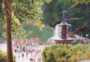 Landscapes Paintings - Bethesda Fountain by Daniel Dayley