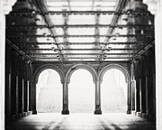 Bethesda Terrace Prints - Bethesda Terrace in Black and White Print by Lisa Russo