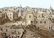 Holy Land Framed Prints - Bethlehem Manger Square 1900 Framed Print by Munir Alawi