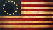 Betsy Ross Paintings - Betsy Ross Flag by Adam Varga