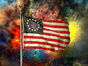 Steven Michael Photography And Art Prints - Betsy Ross Flag Print by Steven  Michael