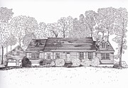 Technical Drawings Drawings Prints - Betsys House Print by Michelle Welles