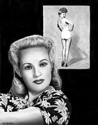 Shirt Drawings Posters - Betty Grable Poster by Peter Piatt