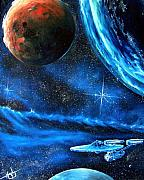 Enterprise Painting Prints - Between Alien Worlds Print by Murphy Elliott