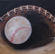 Mitt Painting Posters - Between Innings Poster by Judith Rhue