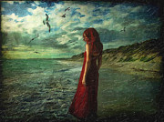 Woman Waiting Digital Art - Between Sea and Shore by Lianne Schneider